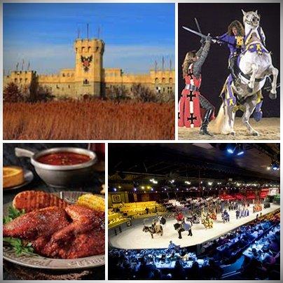 Ortaçağa ait yemek ve turnuva gösterisinden bazı karelerr