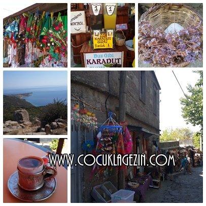Köyde yer alan dükkanlar, kalenin manzarası, meşhur odun köümürnde pişmiş sakızlı kahvemmm.