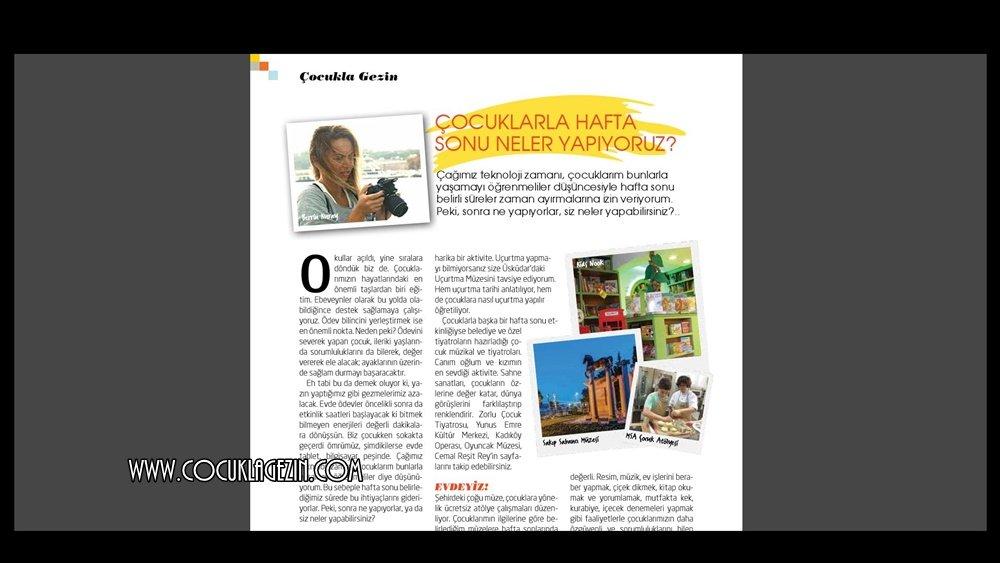 """En İyisini Annem Bilir Dergisi Ekim Sayısında yer alan """"Çocuklarla Haftasonu Etkinlikleri"""" konulu yazımız"""