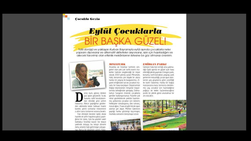 """En İyisini Annem Bilir Dergisi Eylül sayısında yer alan """"Yaz Tatili sonrasında İstanbul'da Çocuklarla"""" konulu yazımız"""