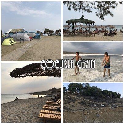 Aydıncık plajında çocuklarla tatil
